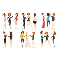 Groups of businesswomen cartoon style set vector
