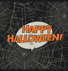 halloween postcard spider web and greetings art vector image