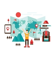 Happy man ready for travel adventures Mountain vector