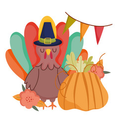 happy thanksgiving day turkey cartoon pumpkin vector image