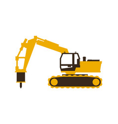 icon excavator with his hammer construction vector image