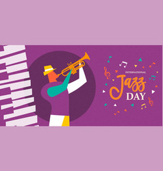 international jazz day poster of trumpet player vector image