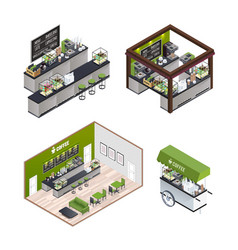 Isometric coffee shops set vector