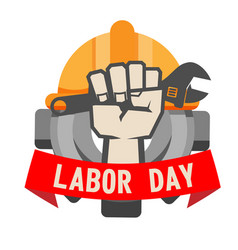 Labor day ribbon hand holding wrench gear helmet b vector