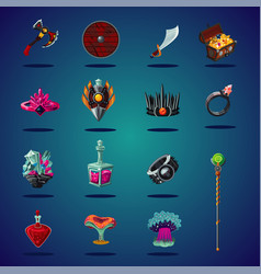 Legendary asset set magic items and resource vector