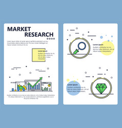 line art market research poster banner vector image