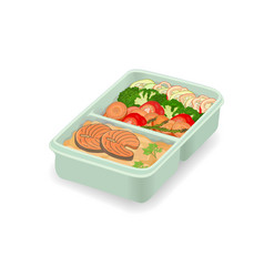 Lunch in delivery container a set tasty vector