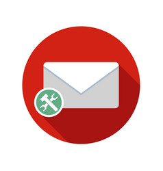 Mail preferences email icon with long shadow vector