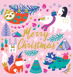 Merry christmas whimsical forest with winter vector