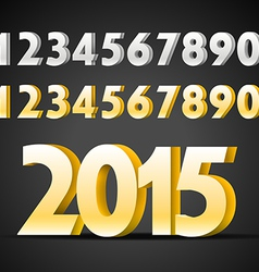 Metal digits collection Happy new 2015 year vector