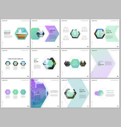 minimal brochure templates with colorful hexagonal vector image