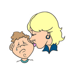 mom kissing her child flat happy vector image