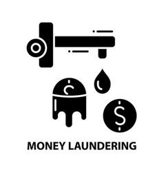 Money laundering symbol icon black sign vector