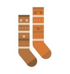 Multicolored woolen winter pair of socks flat vector