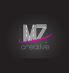 Mz m z letter logo with lines design and purple vector