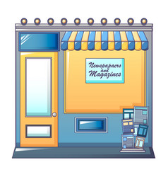 Newspaper shop icon cartoon style vector