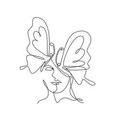 one continuous line drawing sexy woman abstract vector image