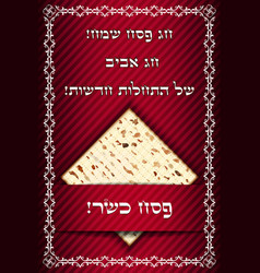 Passover card with matza vector