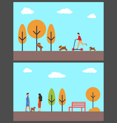 people walking dog in autumn park man on scooter vector image
