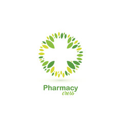pharmacy cross green leaves logo organic vector image