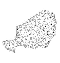 Polygonal network mesh map of niger vector