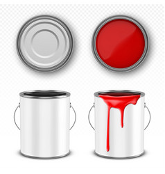 Red paint bucket steel can with paint drips vector