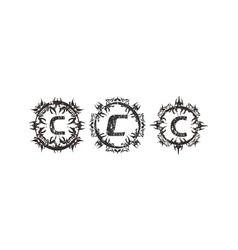 Rough letter c template set vector