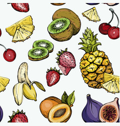 seamless pattern with exotic summer fruit vector image