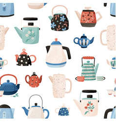 Seamless pattern with teapots and cups hand drawn vector