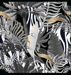 seamless zebra skin pattern with tropical leaves vector image