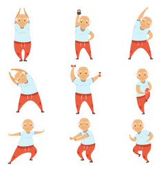 Senior man doing morning exercises active and vector