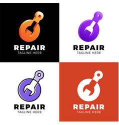 set logo design abstract repair template design vector image