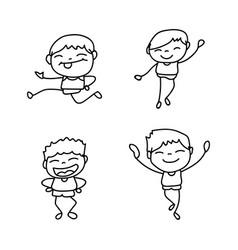Set of hand drawing cute boys line art vector