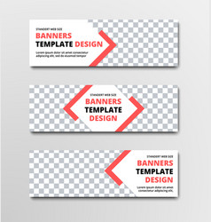 Set of horizontal white web banners with diagonal vector