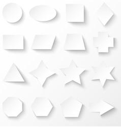 set white basic geometric shapes with shadow vector image