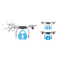 Shredded dot halftone load cargo drone icon vector