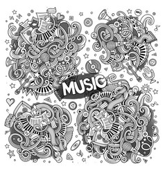 Sketchy doodles cartoon set of music vector
