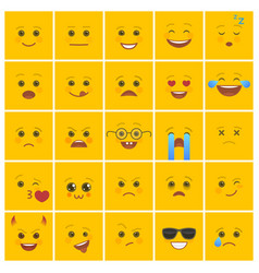 smiley faces with facial expressions on yellow vector image