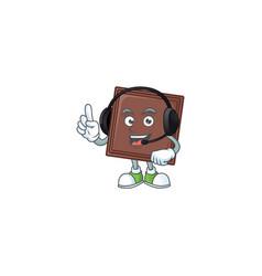 Smiley one bite chocolate bar cartoon character vector