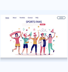 sports fans website landing page design vector image