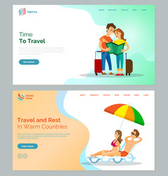 time to travel and warm countries relaxation set vector image