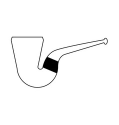 tobacco pipe isolated black and white vector image