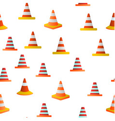 Traffic orange cones seamless pattern vector
