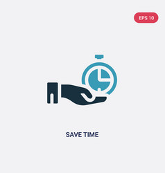Two color save time icon from time management vector