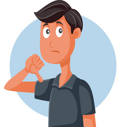 unhappy man with thumbs down expressing vector image