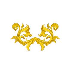 Vintage baroque pattern golden floral ornament in vector