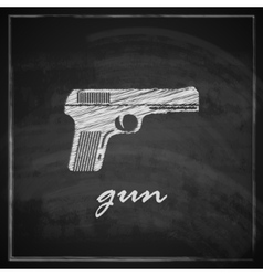 vintage with gun on blackboard background vector image