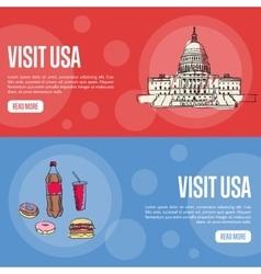 Visit USA Touristic Web Banners vector