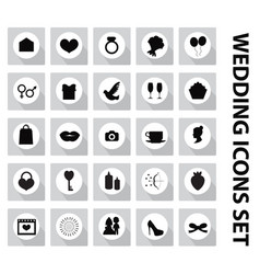 wedding set icons design elements black vector image