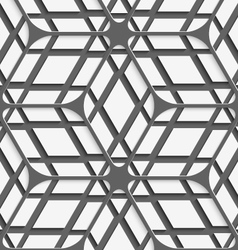 White geometrical detailed with gray net on gray vector image